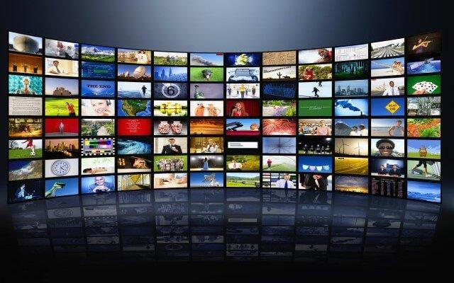 Wall of television screens