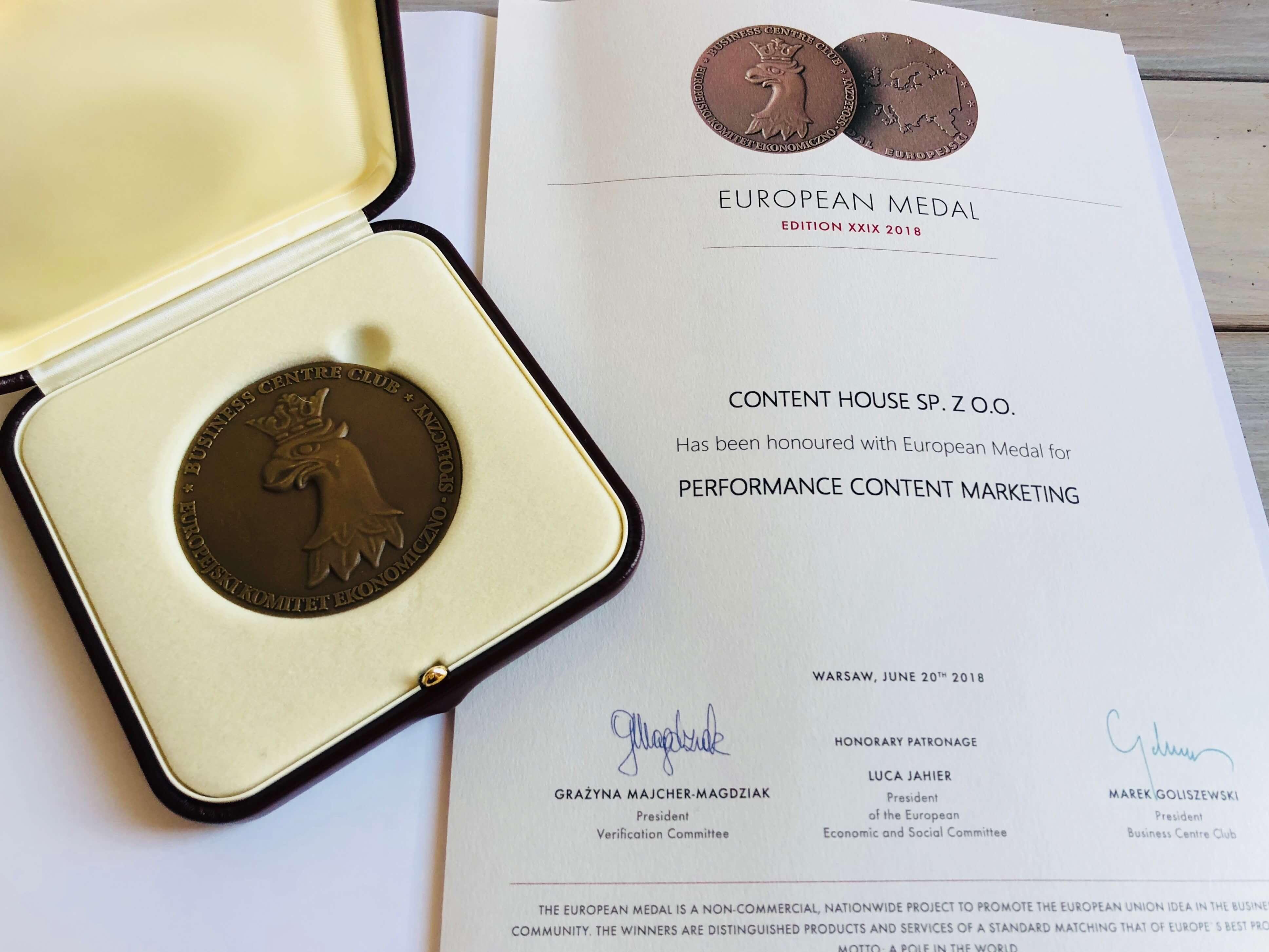 Medal Europejski ContentHouse